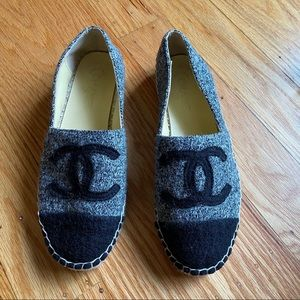 Chanel CC Wool Gray and Black Espadrilles